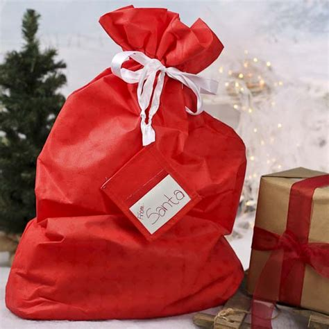 red drawstring santa sack gift bag bags basic craft