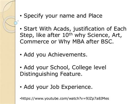 Mba After Bsc Science tell me about yourself
