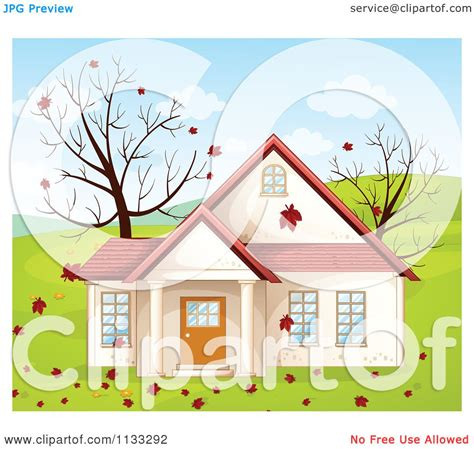 country clipart of an autumn country house royalty free vector