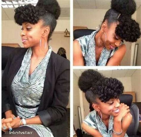afro puff pocket bun hairstyles cute pomopadour bang and afro puff updo natural hair