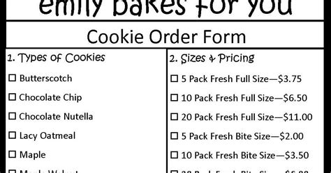 cookie order form template emily bakes for you cookie order form