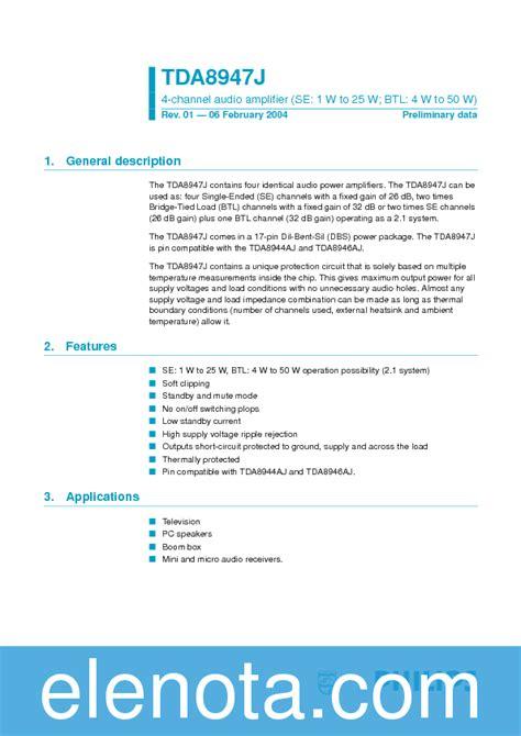 Tda8947j tda8947j datasheet pdf 200 kb philips pobierz z elenota pl