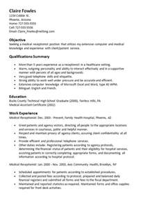 Clinical Receptionist Sle Resume by Sle Resume Receptionist Resumes Design
