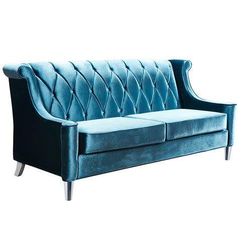 armen living barrister sofa armen living lc8443blue barrister sofa in tufted blue