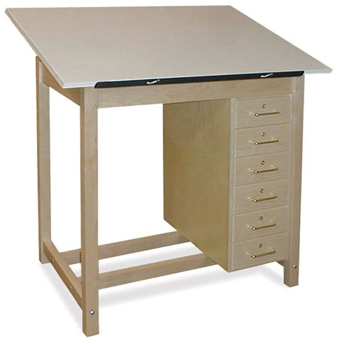 Drafting Table With Drawers Hann Six Drawer Wood Drawing Table Blick Materials