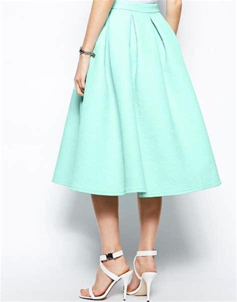 asos premium prom midi skirt in bonded crepe in green