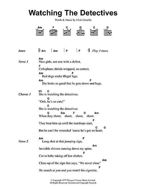my lyrics elvis costello the detectives sheet by elvis costello