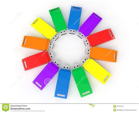 Colorful Usb Flash Drives by 3d Colorful Usb Flash Drives Stock Illustration Image