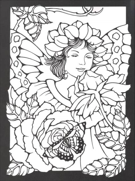 stained glass coloring books magic garden fairies stained glass coloring book 000466