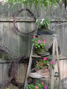 Old wooden ladder backyard decorating ideas