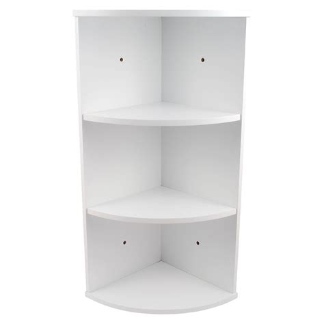 White Bathroom Shelving Unit 3 Tier White Wooden Corner Wall Mounted Bathroom Storage Shelving Unit Ebay
