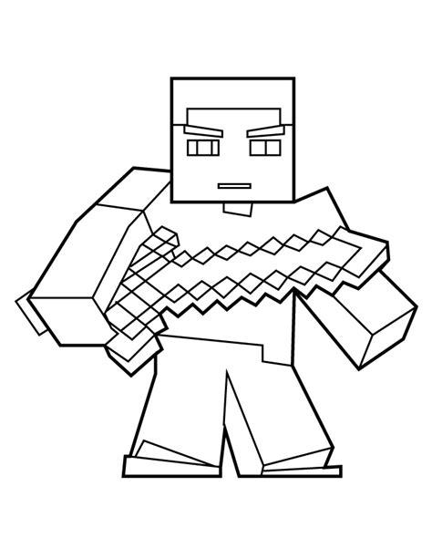 minecraft pumpkin coloring pages desenho de steve minecraft com espada para colorir