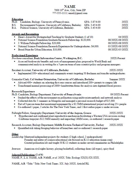 Of Pennsylvania Mba Deadlines by Attractive Academic Resume For Graduate School Application