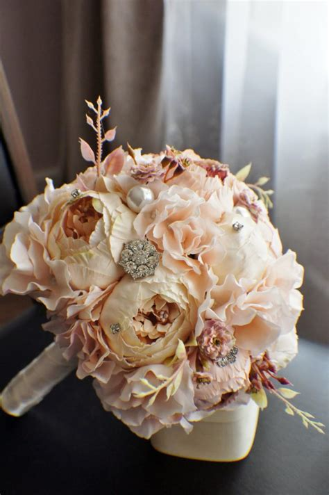 shabby chic style floral bouquet peony bridal bouquet silk wedding flowers brooch bouquet chagne wedding flowers vintage