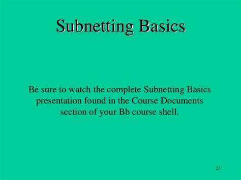 subnetting tutorial ppt subnetting basics tutorial