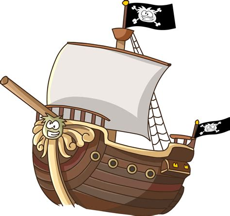 broken boat cartoon pirate clip art black and white free download