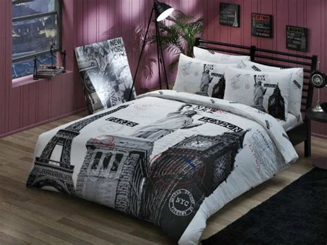 paris new york london quilt cover set duvet cover set