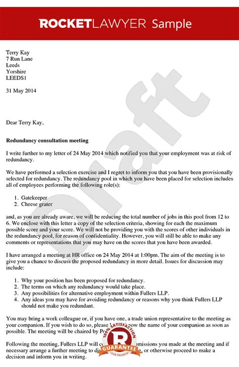 Redundancy Appeal Letter Exle Redundancy Consultation Letter Arrange A Redundancy Consultation