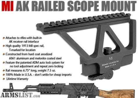 ak 47 rail side mount armslist for sale ak 47 midwest industries side rail mount