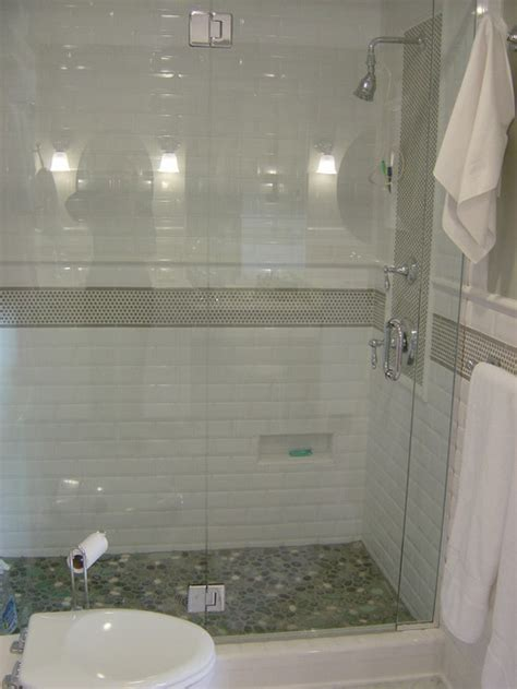 river rock tile for bathrooms