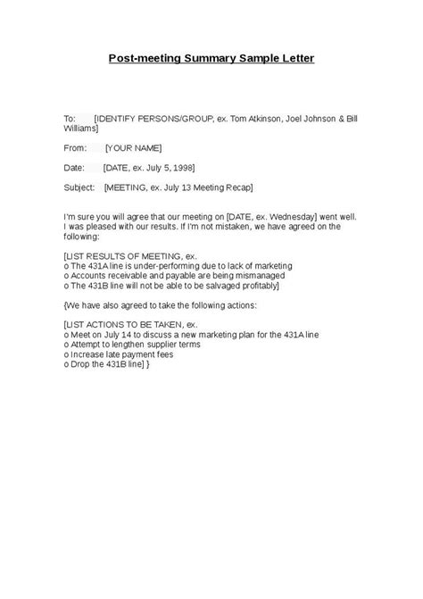 Letter Sinopsis Meeting Summary Letter Images
