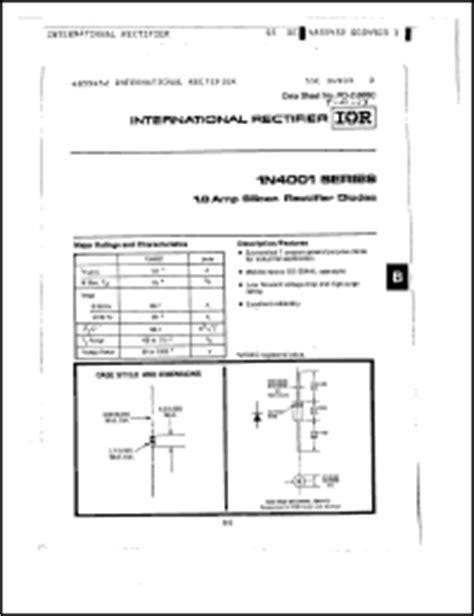 datasheet of diode 1n4001 international rectifier 1n4001 series datasheets 1n4001 1n4004 1n4006 1n4007 1n4003 1n4002