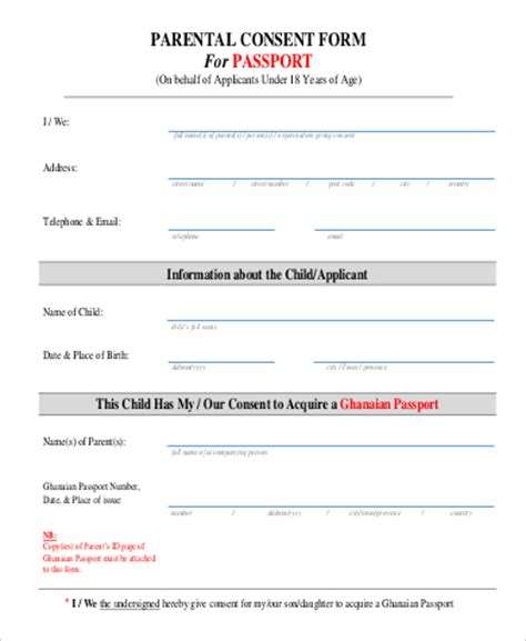 Consent Letter Of Parents For Passport Passport Consent Form Sle 5 Exles In Pdf