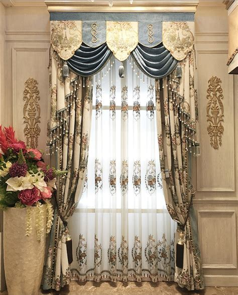 embroidered luxury curtain jacquard blinds curtains
