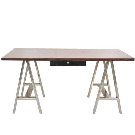 chrome sawhorse table legs modern design sawhorse chrome leg desk for sale at 1stdibs