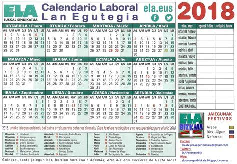 Calendario Laboral 2018 Vizcaya Ela Prosegur Bizkaia Calendario Laboral Euskal Herria 2018
