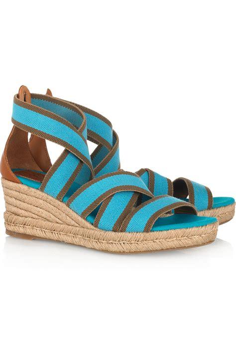 burch stretch canvas espadrille wedge sandals in blue