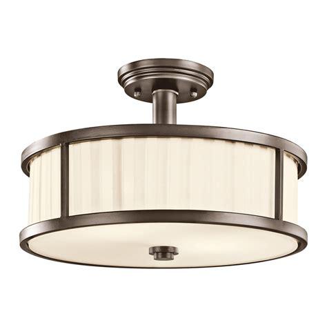 Portfolio Ceiling Light Shop Portfolio Camargo 15 In W Olde Bronze Fabric Semi Flush Mount Light At Lowes