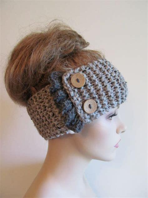 knit crochet turban headband button headbands grey knit headbands earwarmers turban buttons chunky knit