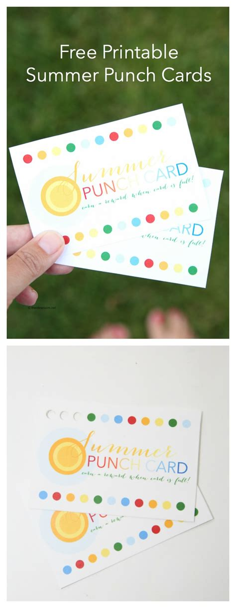 A Summer Card Printable free summer printable punch cards