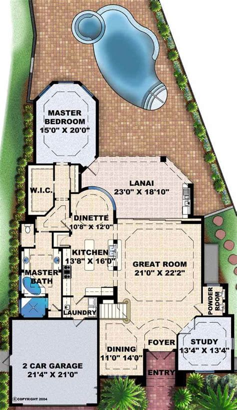 pie shaped house plans florida style house plans 3516 square foot home 2 story 4 bedroom and 3 bath 2