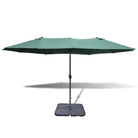Portable Patio Umbrella Vidaxl Co Uk Umbrella With Portable Base 2 7 X 4 6 M Aluminium Green