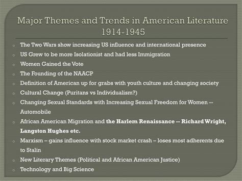 themes american literature ppt final review what you need to know powerpoint