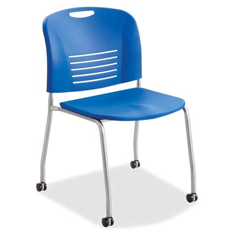 plastic office chairs with wheels safco vy leg stack chairs w casters blue