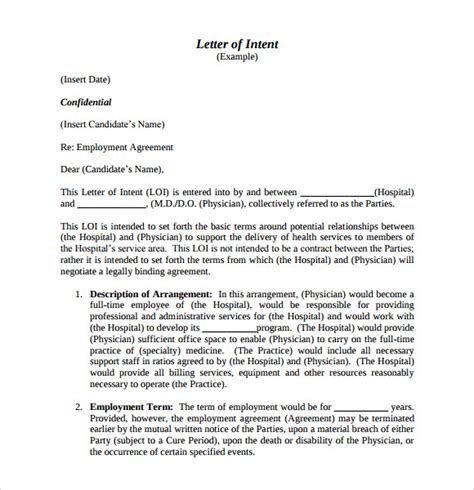 Letter Of Intent In Pdf Sle Letter Of Intent For Employment 9 Documents In Pdf Word