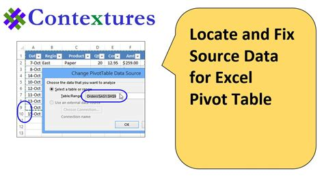 Change Pivot Table Source Data Locate And Change Excel Pivot Table Data Source