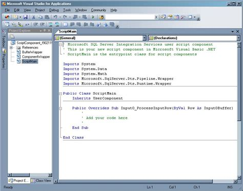 design studio script editor custom vb net scripting in sql server integration services