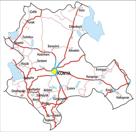 kayseri map konya map