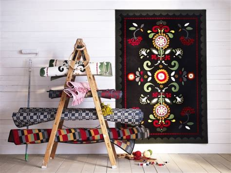 ikea akerkulla rug traditional folk patterns feature in the new 197 kerkulla rug seen here alongside other swedish