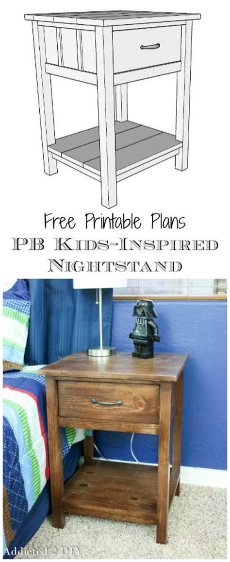 printable plans pb kids inspired nightstand addicted  diy