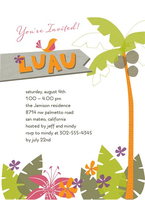 luau invitation template tropical luau invitation