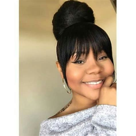 black hairstyles with bun and bangs high bun with bang black hairstyles pinterest high