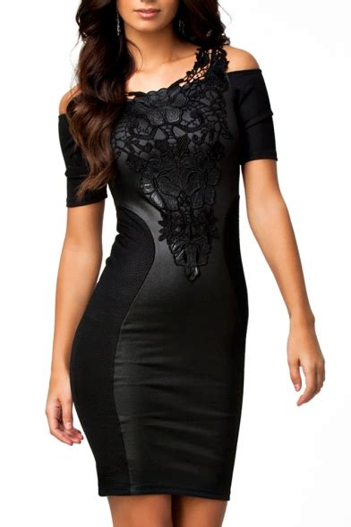 lace panel short sleeve black plain dress beautifulhalocom