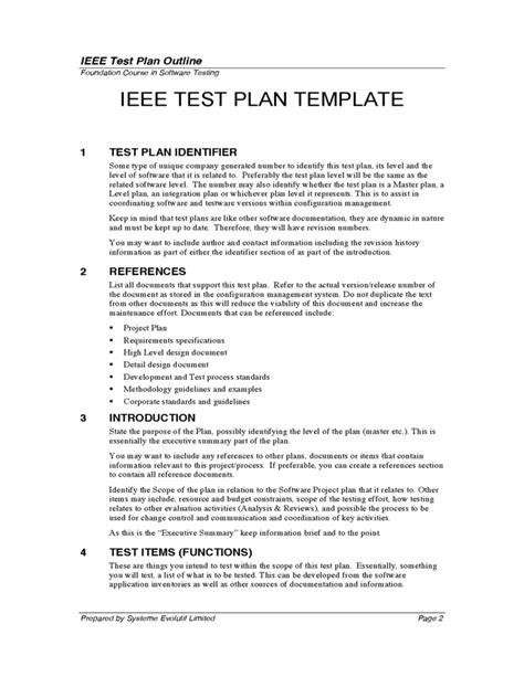 ieee 829 test plan template test plan outline free