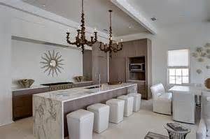 Long Kitchen Islands by Long Kitchen Island With White And Gray Marble Waterfall