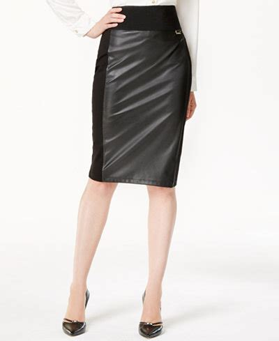 Faux Leather Panel Skirt calvin klein faux leather panel pencil skirt skirts